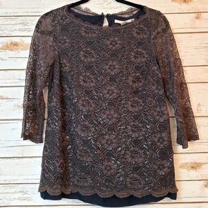 Boden 3/4 Sleeve Floral Lace Blouse Size 6